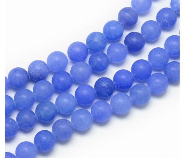 Dark Periwinkle Blue Matte Jade Beads, 8mm Round