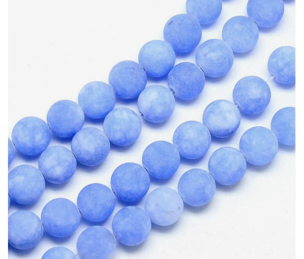 Light Periwinkle Blue Matte Jade Beads, 8mm Round