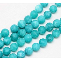 Aquamarine Blue Matte Jade Beads, 8mm Round