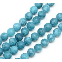 Dark Teal Blue Matte Jade Beads, 8mm Round