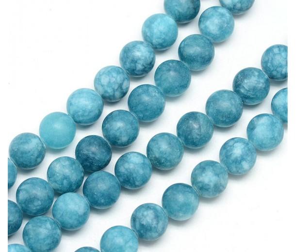 Dark Teal Blue Matte Jade Beads, 8mm Round