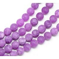 Orchid Purple Matte Jade Beads, 8mm Round