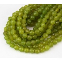 Light Olive Green Candy Jade Beads, 4mm Faceted Round
