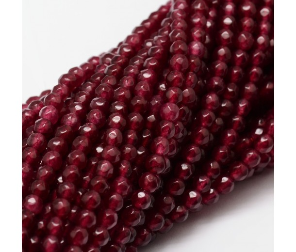 Garnet Red Candy Jade Beads, 4mm Faceted Round