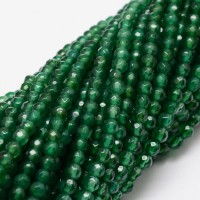 Dark Green Candy Jade Beads, 4mm Faceted Round