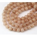 Beige Candy Jade Beads, 6mm Faceted Round
