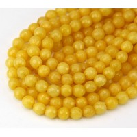 Sun Yellow Candy Jade Beads, 6mm Faceted Round