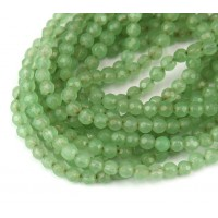 Light Green Candy Jade Beads, 4mm Faceted Round