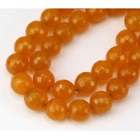 Hony Yellow Candy Jade Beads, 10mm Faceted Round