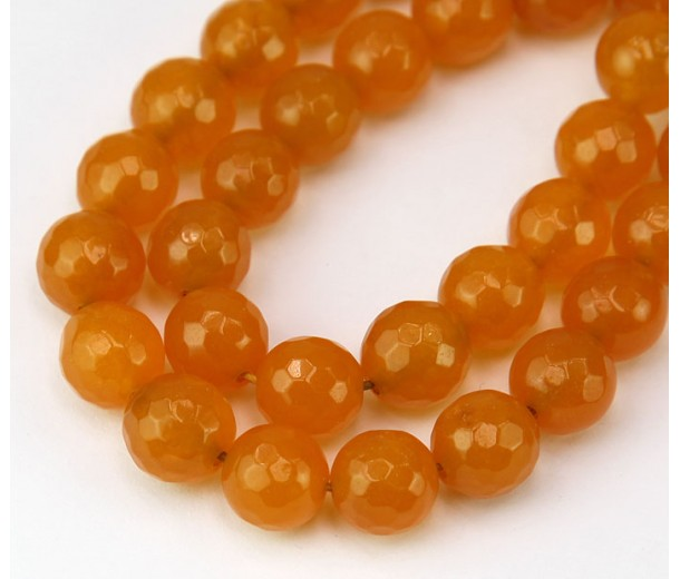 Honey Yellow Candy Jade Beads, 10mm Faceted Round