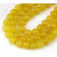 Milky Yellow Candy Jade Beads, 8mm Faceted Round