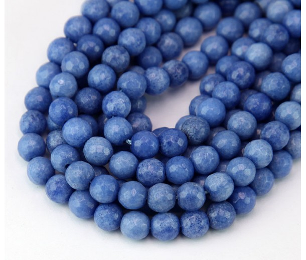 Blue Candy Jade Beads, 6mm Faceted Round
