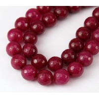 Dark Raspberry Pink Candy Jade Beads, 10mm Faceted Round