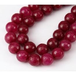 Dark Raspberry Pink Candy Jade Beads, 10mm Faceted Round