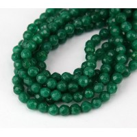Emerald Green Candy Jade Beads, 4mm Faceted Round