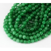 Grass Green Candy Jade Beads, 4mm Faceted Round