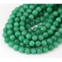 Sea Green Candy Jade Beads, 6mm Faceted Round
