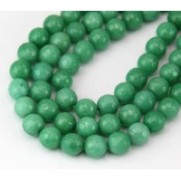 Sea Green Candy Jade Beads, 8mm Faceted Round