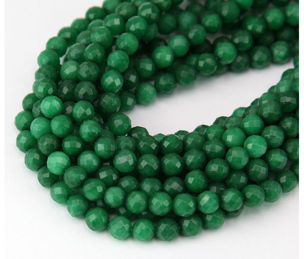 Forest Green Candy Jade Beads, 6mm Faceted Round