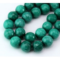 Hunter Green Candy Jade Beads, 12mm Faceted Round