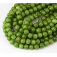 Olive Green Candy Jade Beads, 6mm Faceted Round