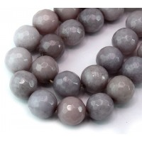 Mouse Grey Candy Jade Beads, 12mm Faceted Round