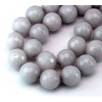 Grey Mist Candy Jade Beads, 12mm Faceted Round