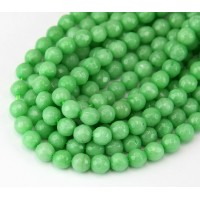 Leaf Green Candy Jade Beads, 6mm Faceted Round