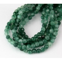 Two Tone Green Candy Jade Beads, 4mm Faceted Round