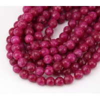 Dark Fuchsia Candy Jade Beads, 6mm Faceted Round