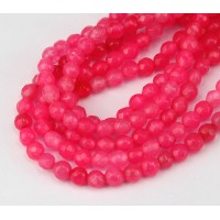 Neon Pink Candy Jade Beads, 4mm Faceted Round