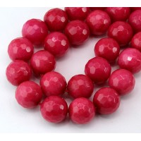 Camellia Pink Candy Jade Beads, 12mm Faceted Round