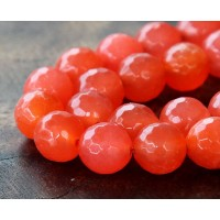 Flame Red Candy Jade Beads, 12mm Faceted Round