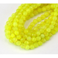Neon Yellow Candy Jade Beads, 4mm Faceted Round