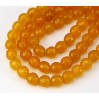 Honey Yellow Candy Jade Beads, 8mm Faceted Round