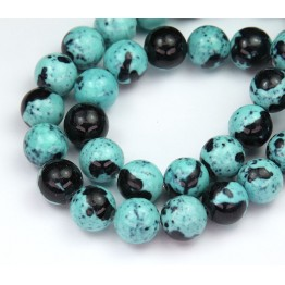 Robin Egg Blue Mix Multicolor Jade Beads, 10mm Round