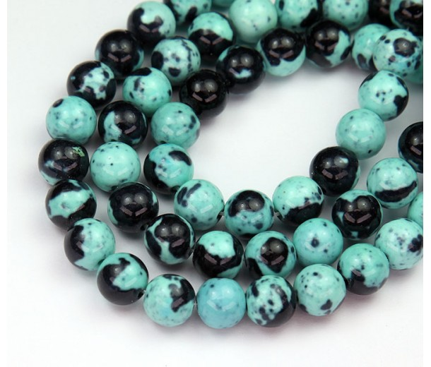 Robin Egg Blue Mix Multicolor Jade Beads, 8mm Round