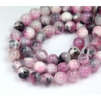 White, Pink and Grey Multicolor Jade Beads, 8mm Round