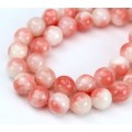 Coral and White Multicolor Jade Beads, 8mm Round