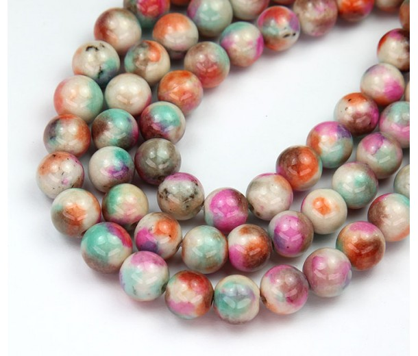 Cupcake Mix Multicolor Jade Beads, 8mm Round