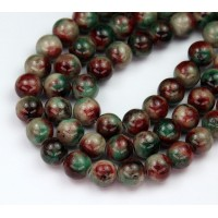 Dark Green and Maroon Mix Multicolor Jade Beads, 10mm Round