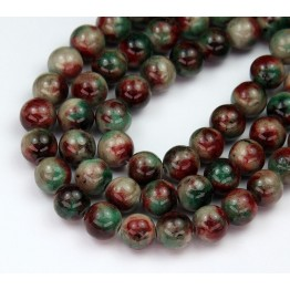 Dark Green and Maroon Mix Multicolor Jade Beads, 8mm Round