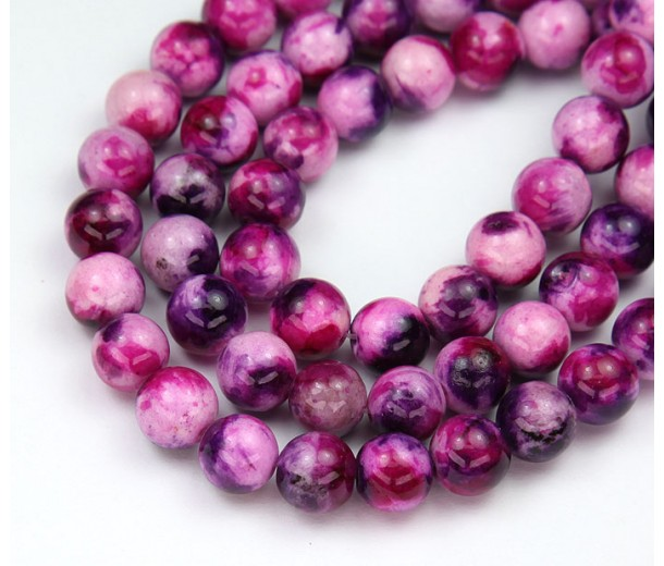 Eclectic Mix Multicolor Jade Beads, 8mm Round