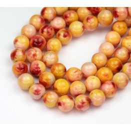 Pineapple Yellow Mix Multicolor Jade Beads, 8mm Round