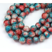 Light Blue and Coral Mix Multicolor Jade Beads, 8mm Round