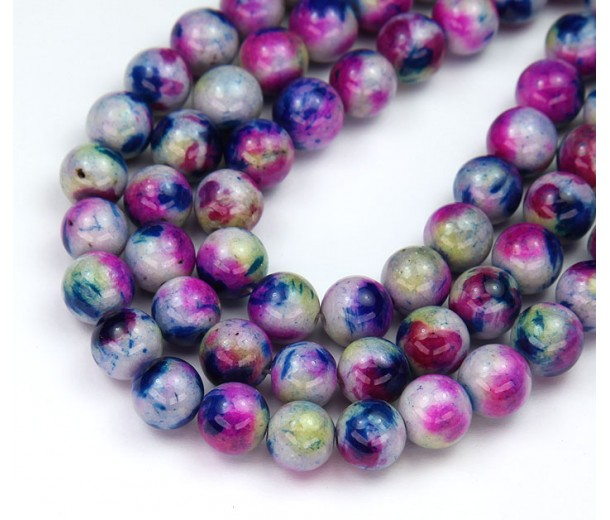 Navy and Pink Mix Multicolor Jade Beads, 8mm Round