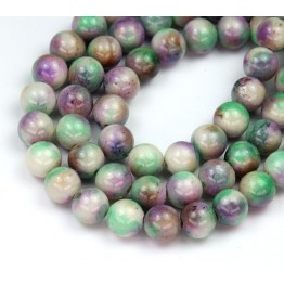 Green and Lilac Mix Multicolor Jade Beads, 8mm Round
