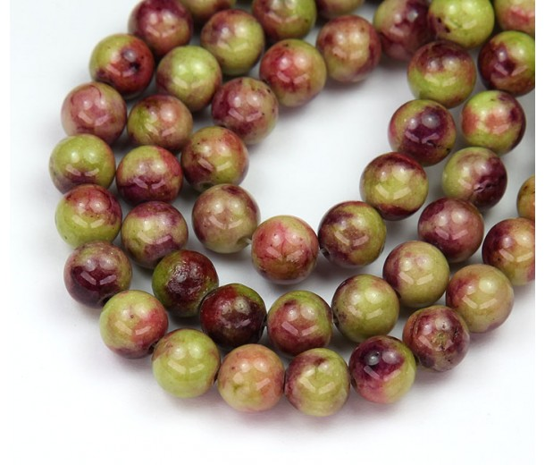 Apple Green and Maroon Mix Multicolor Jade Beads, 8mm Round