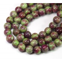 Green and Wine Red Mix Multicolor Jade Beads, 8mm Round