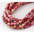 Red and Apple Green Multicolor Jade Beads, 6mm Round